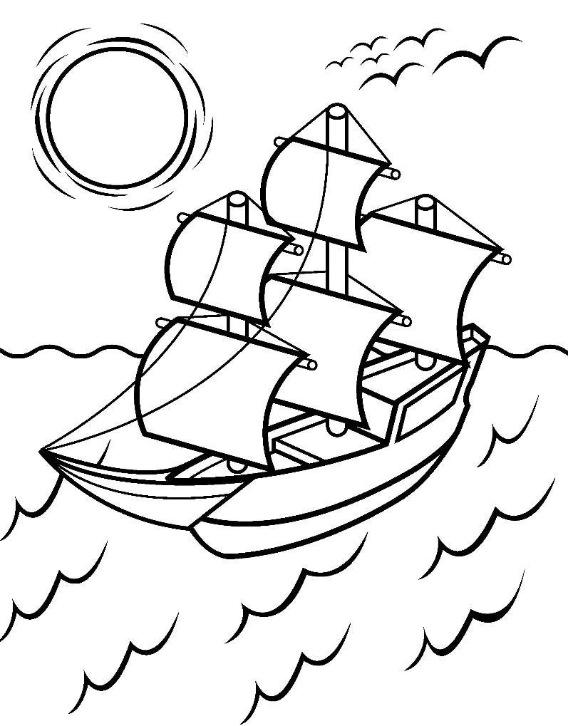 Раскраска корабль на море