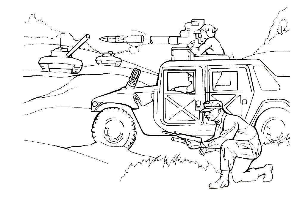 Раскраска вооруженная машина