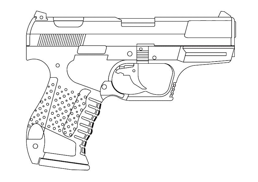 Раскраска пистолет