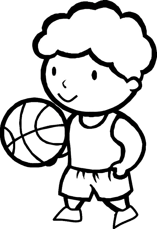 Раскраска мальчик с мячом