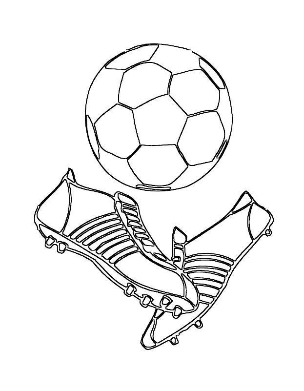Раскраска бутсы и мяч