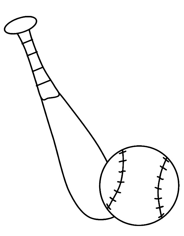 Раскраска бита и мяч