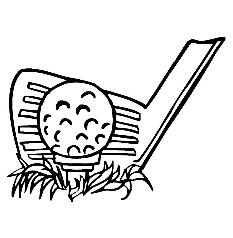 Раскраска клюшка для гольфа с мячом