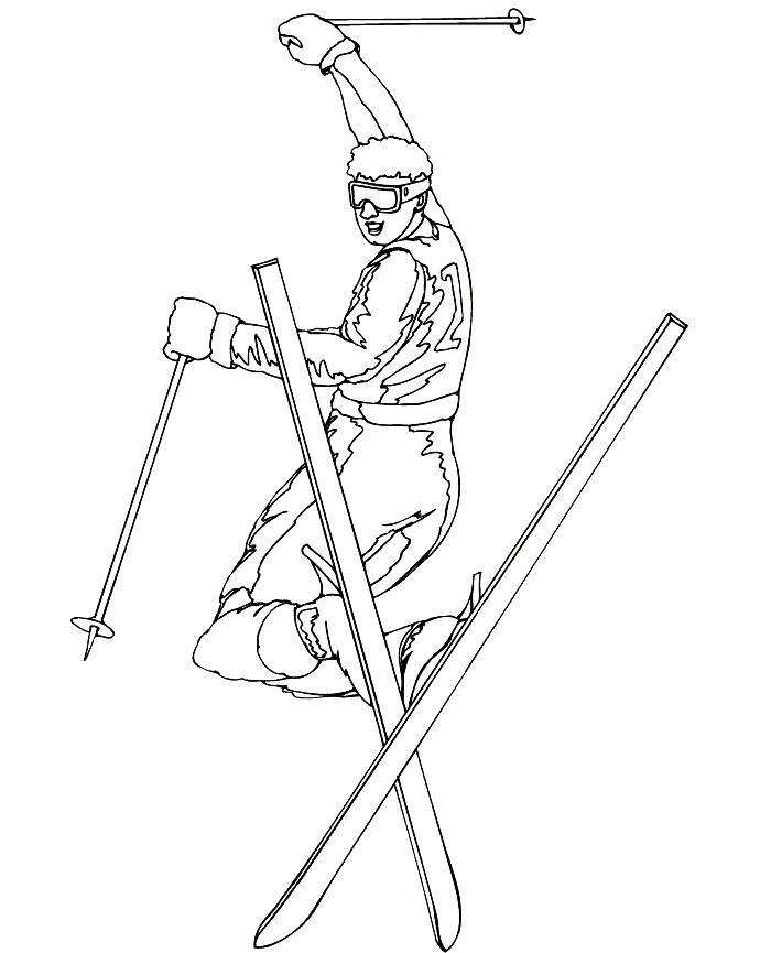 Раскраска лыжный фристайл