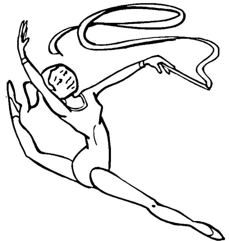 Раскраска гимнастика с лентой