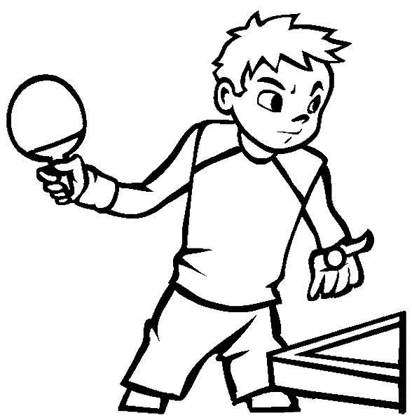 Раскраска настольный теннис