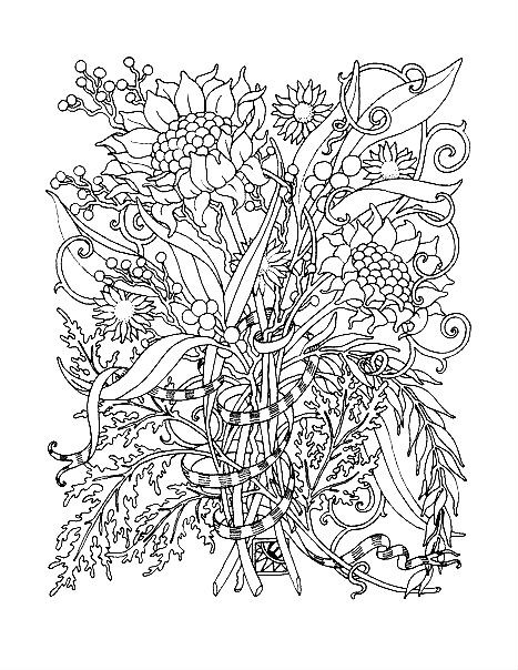 Раскраска арт терапия — букет цветов