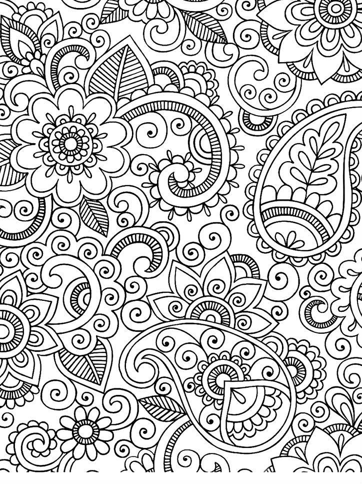 Раскраска цветочный узор для снятия стресса