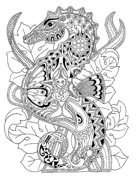 Раскраска морская арт терапия — морской конек