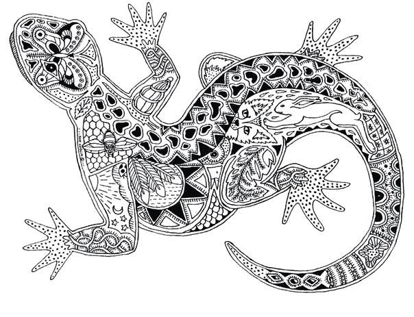 Раскраска ящерица антистресс