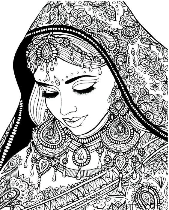 Раскраска индианка в красивом сари