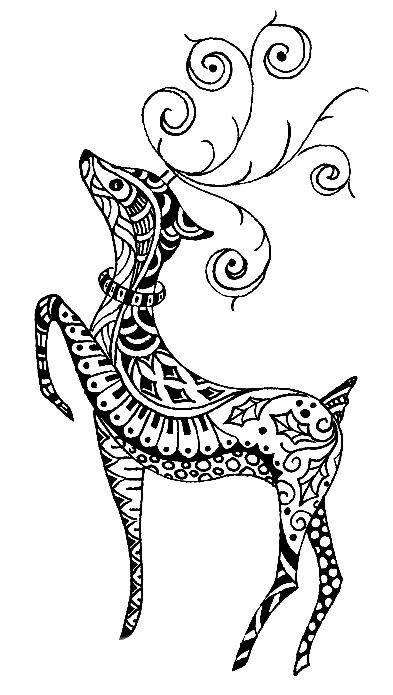 Раскраска арт терапия животные — волшебный олень