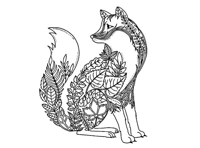 Раскраска лесная арт терапия — лисичка