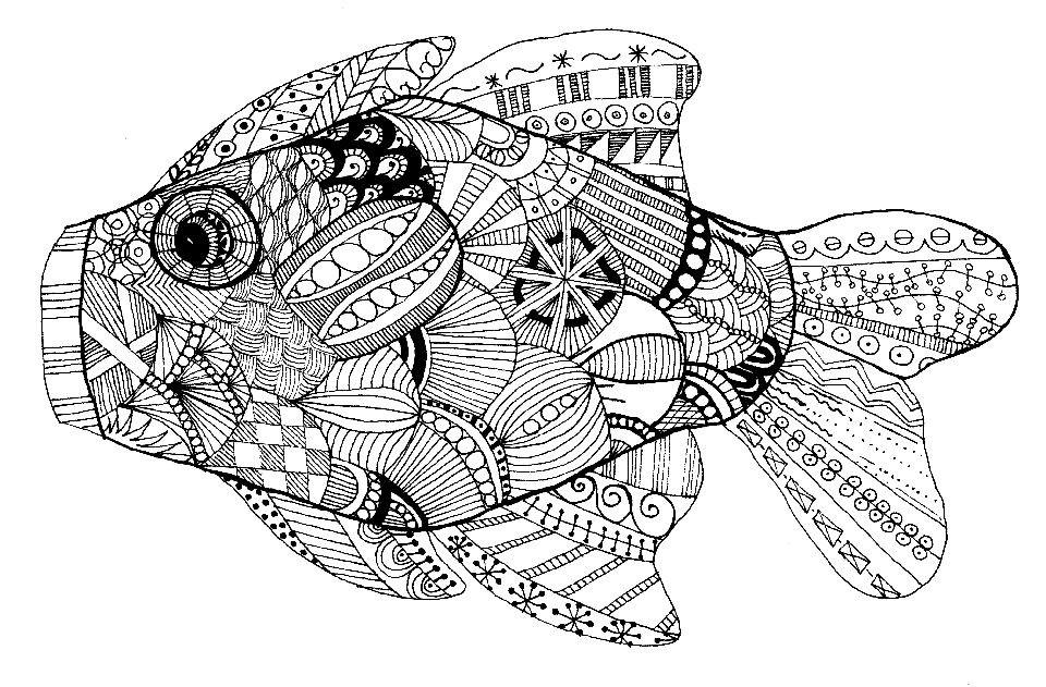 Раскраска рыбка антистресс