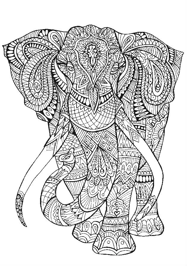 Раскраска антистресс слон
