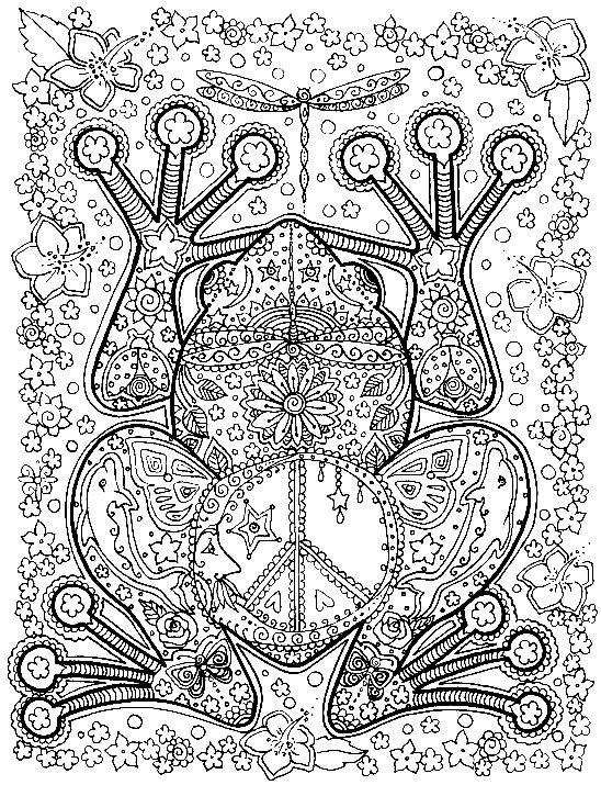 Раскраска антистресс фантазийная лягушка