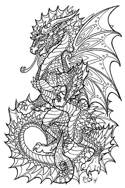 Раскраска дракон антистресс