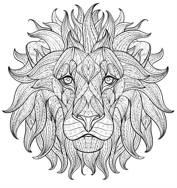 Раскраска арт терапия — голова льва