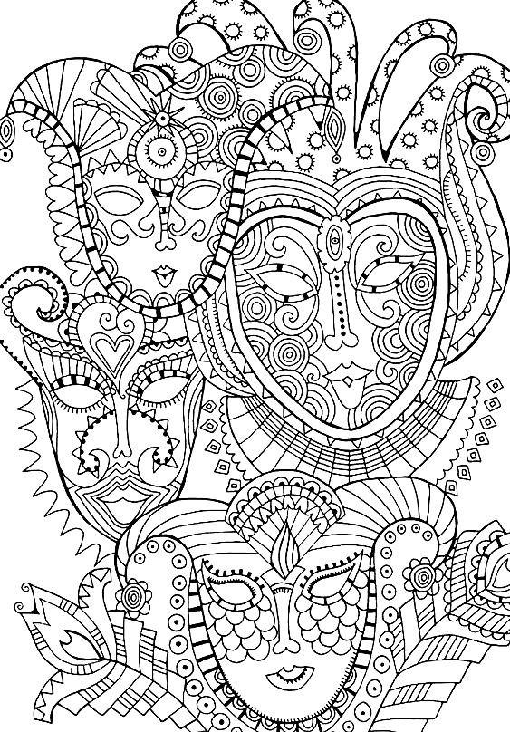 Раскраска арт терапия — маски