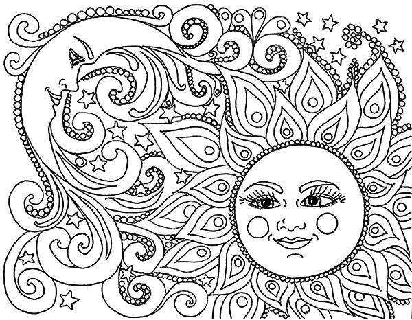 Раскраска солнце и луна