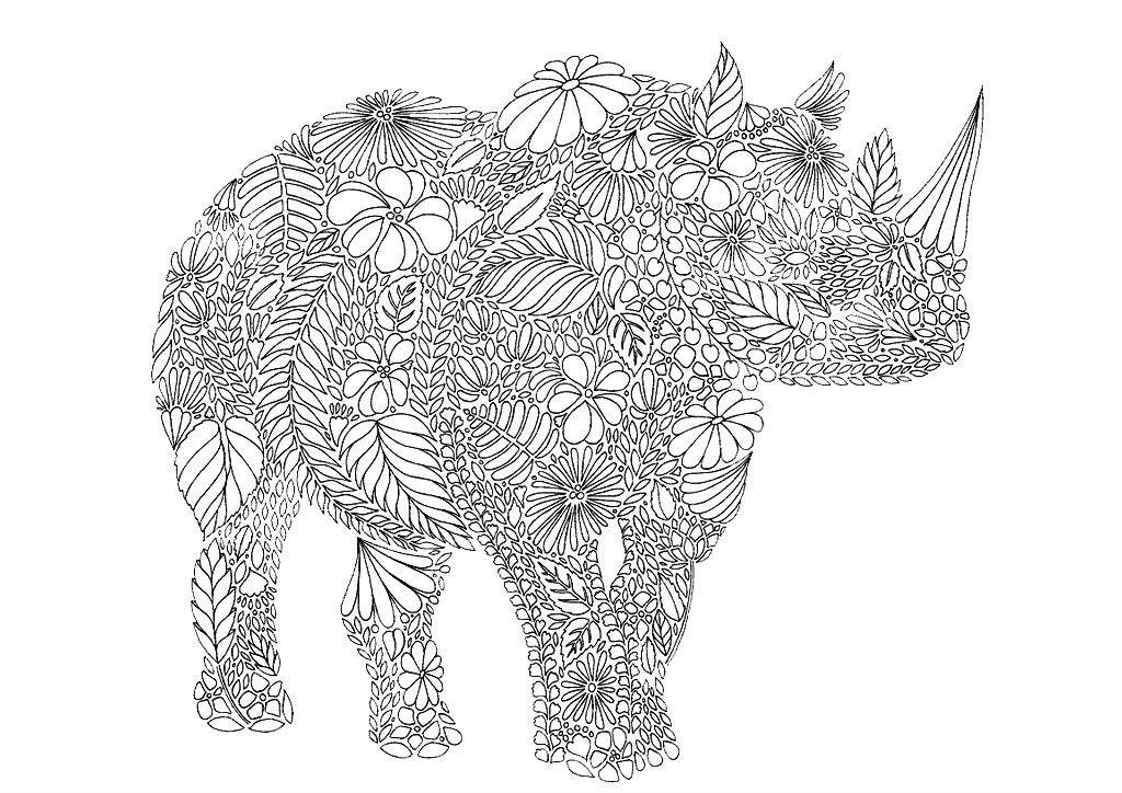 Раскраска арт терапия животные — носорог
