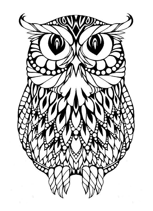 Раскраска арт терапия птицы — филин