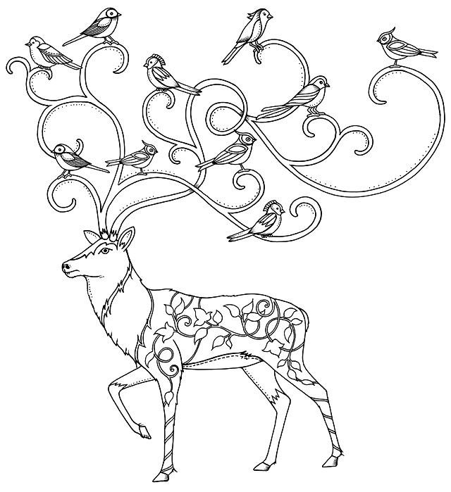 Раскраска лесная арт терапия — олень