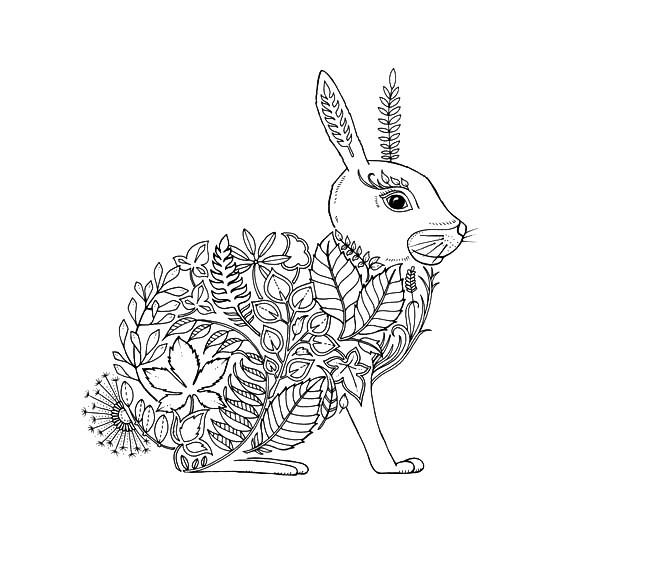 Раскраска лесная арт терапия зайчик