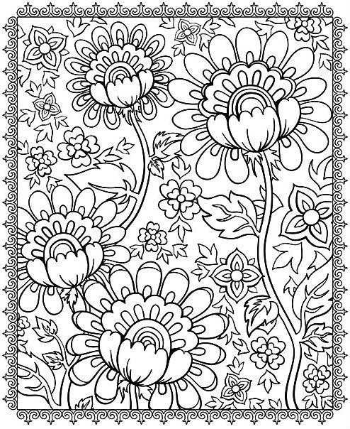 Раскраска цветочный узор