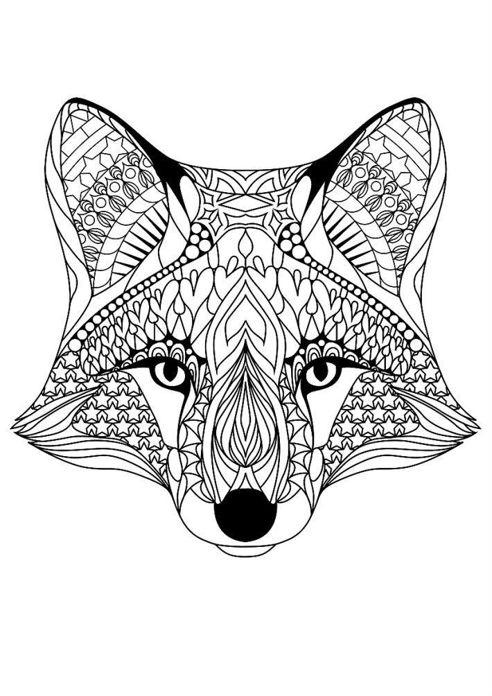 Раскраска арт терапия животные — лиса