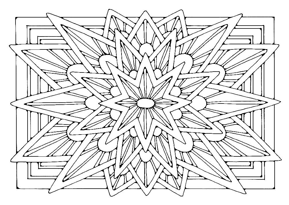 Раскраска прямоугольная мандала 8 конечная звезда