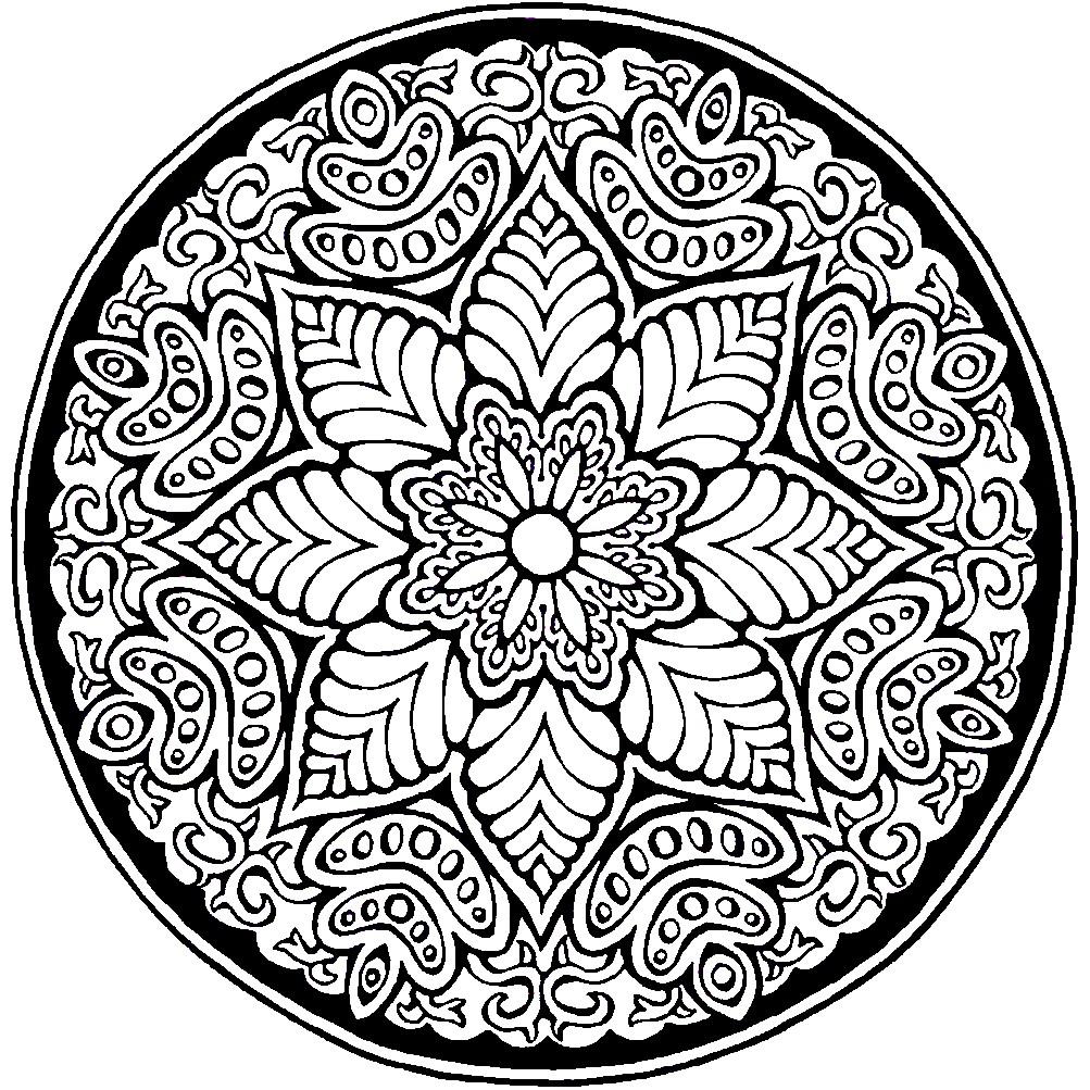 Раскраска круглая мандала с узором