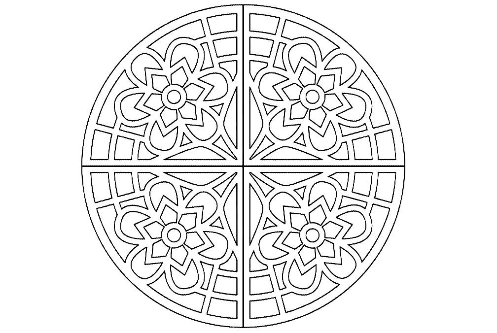 Раскраска мандала 4 узора