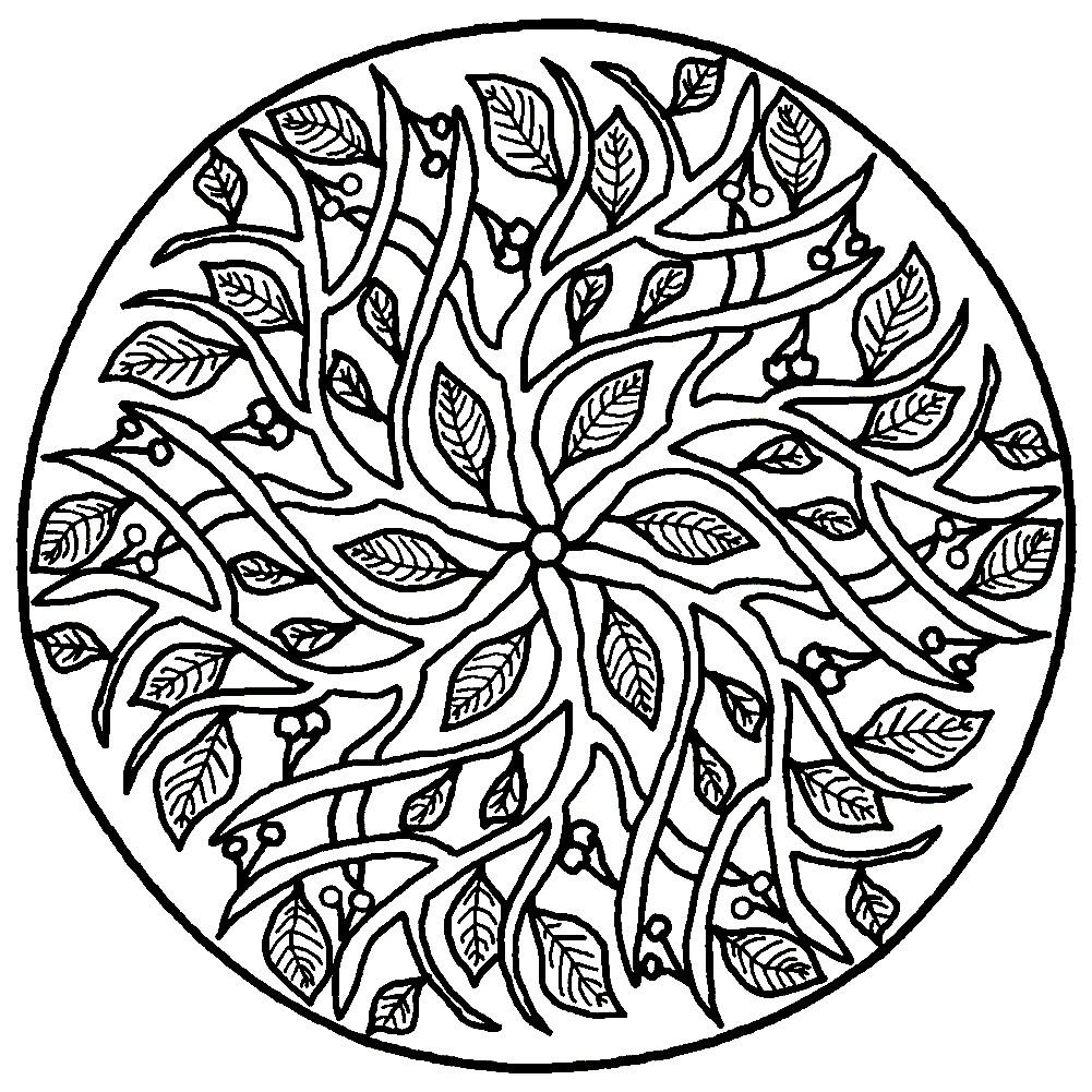 Раскраска мандала из листьев
