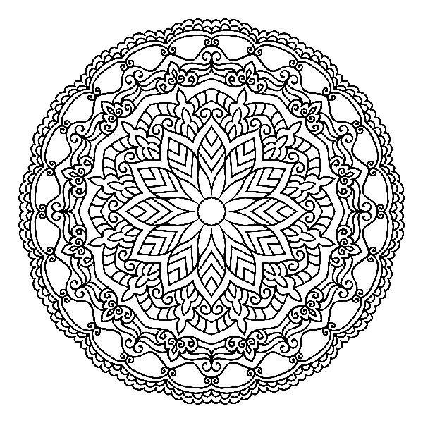 Раскраска мандала сложное плетение