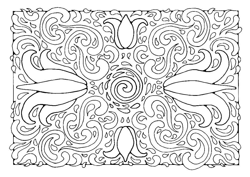 Раскраска прямоугольная мандала с лилиями