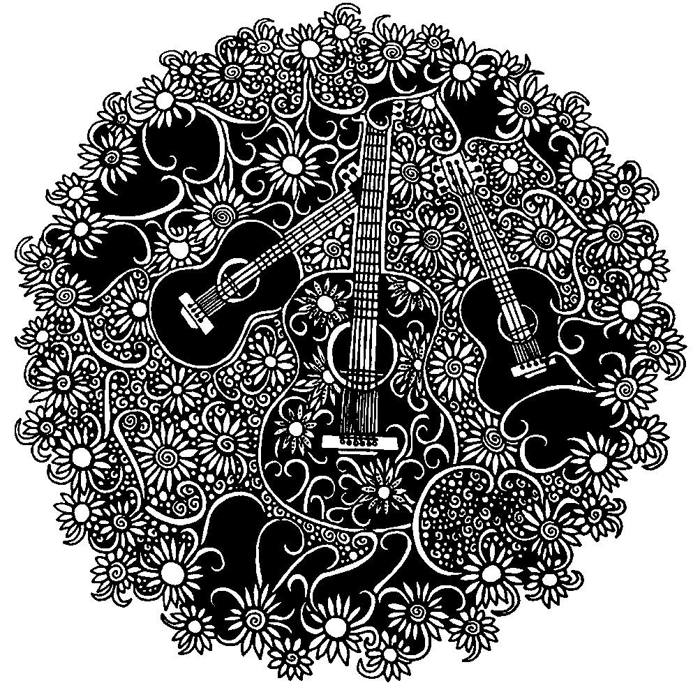 Раскраска музыкальная мандала