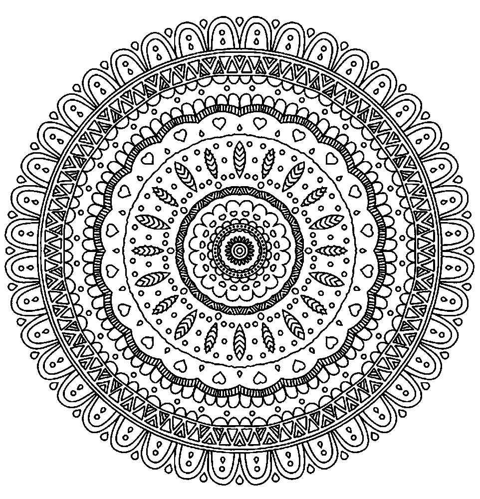 Раскраска мандала с мелкими элементами
