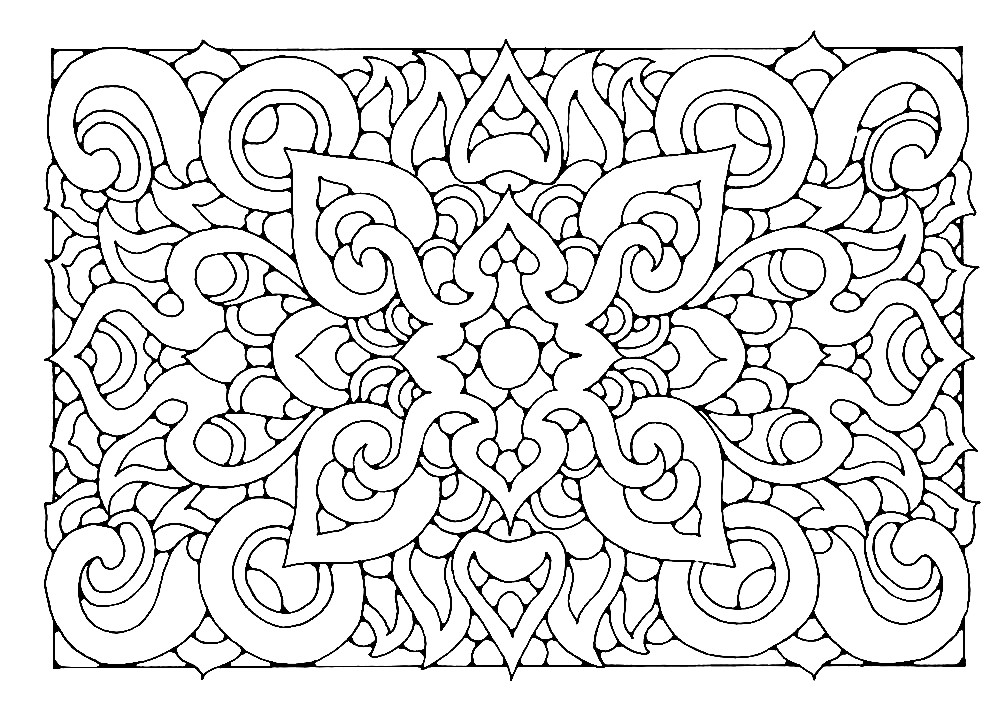 Раскраска прямоугольная мандала мозайка