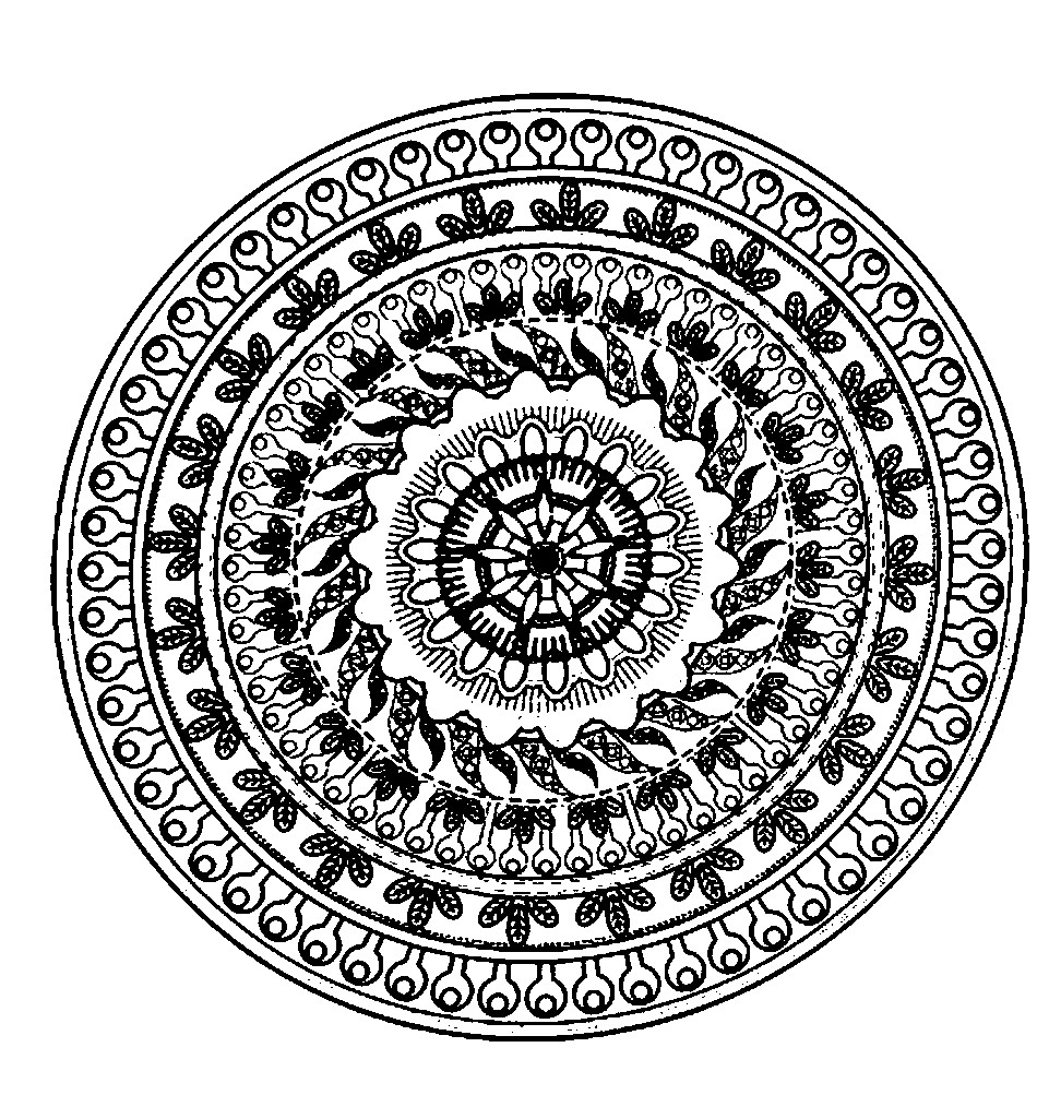Раскраска мандала с мелкими узорами