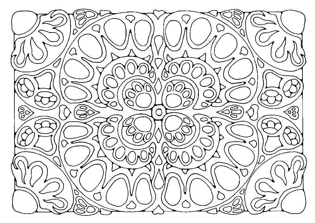 Раскраска прямоугольная мандала ковер