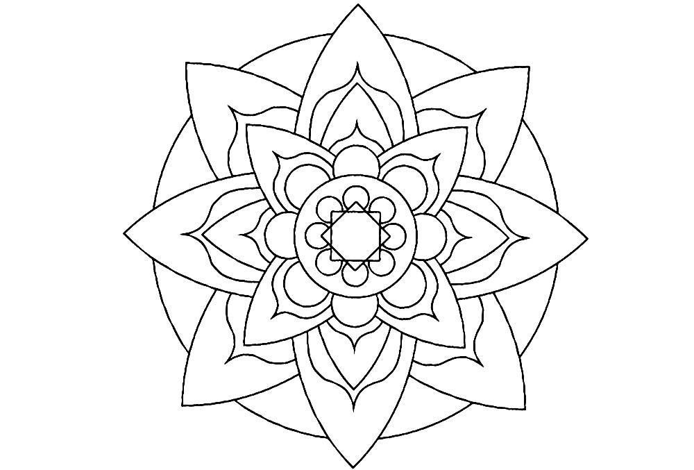 Раскраска мандала лепестки цветов