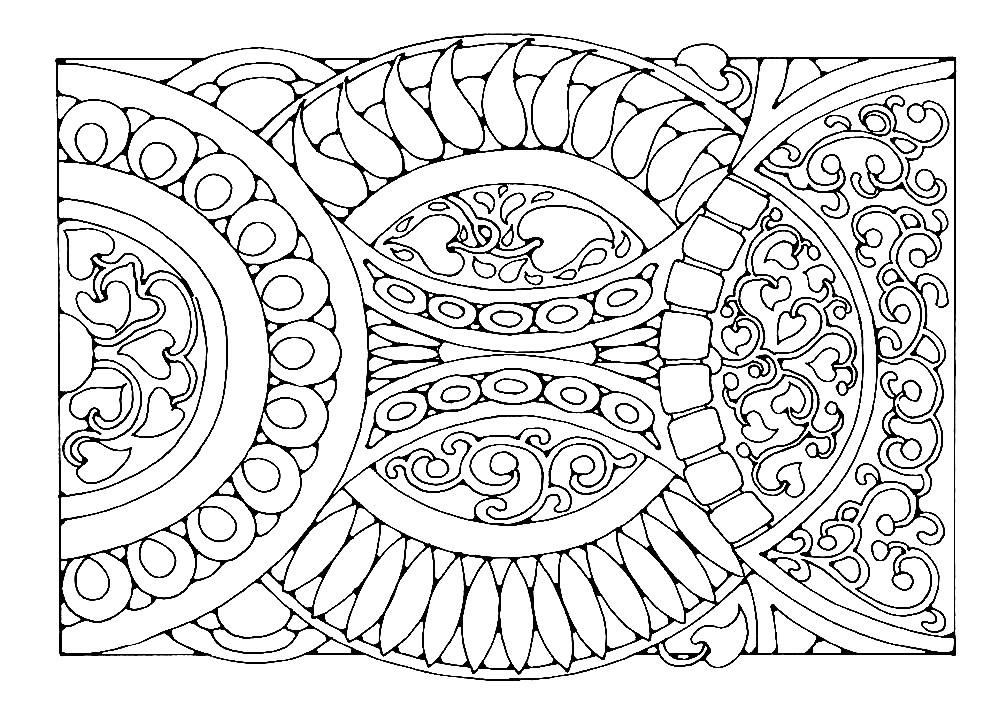 Раскраска прямоугольная мандала с восточными элементами