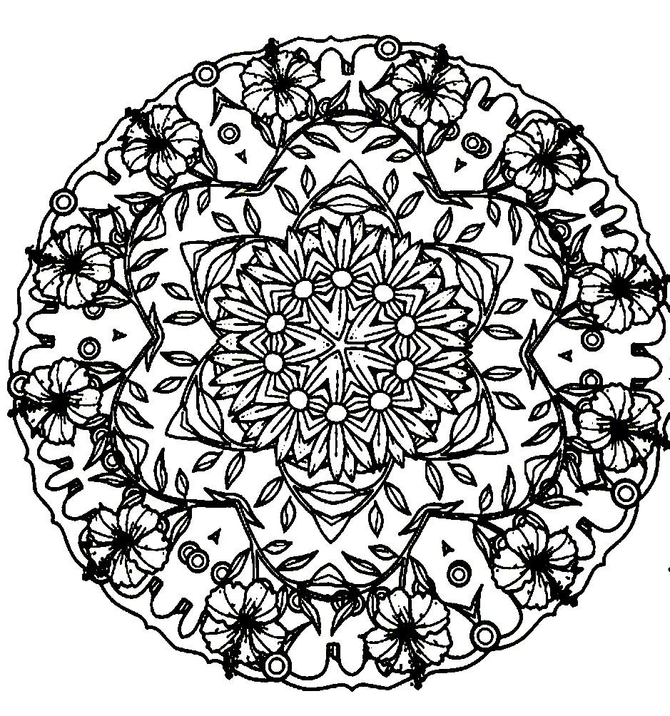 Раскраска мандала из цветов