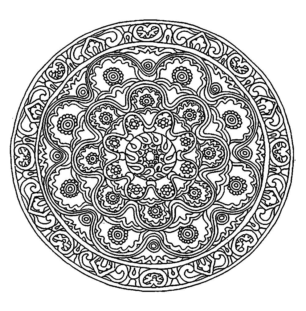Раскраска круглая мандала