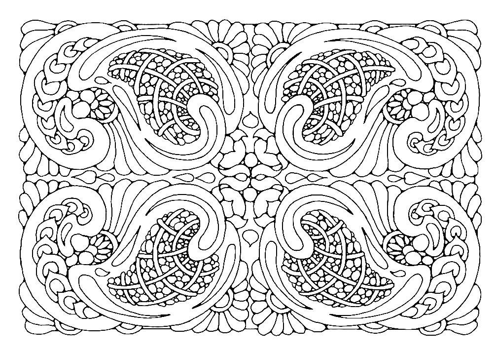 Раскраска прямоугольная мандала цветочный узор
