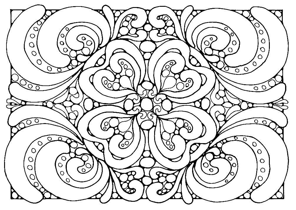 Раскраска прямоугольная мандала с завитушками