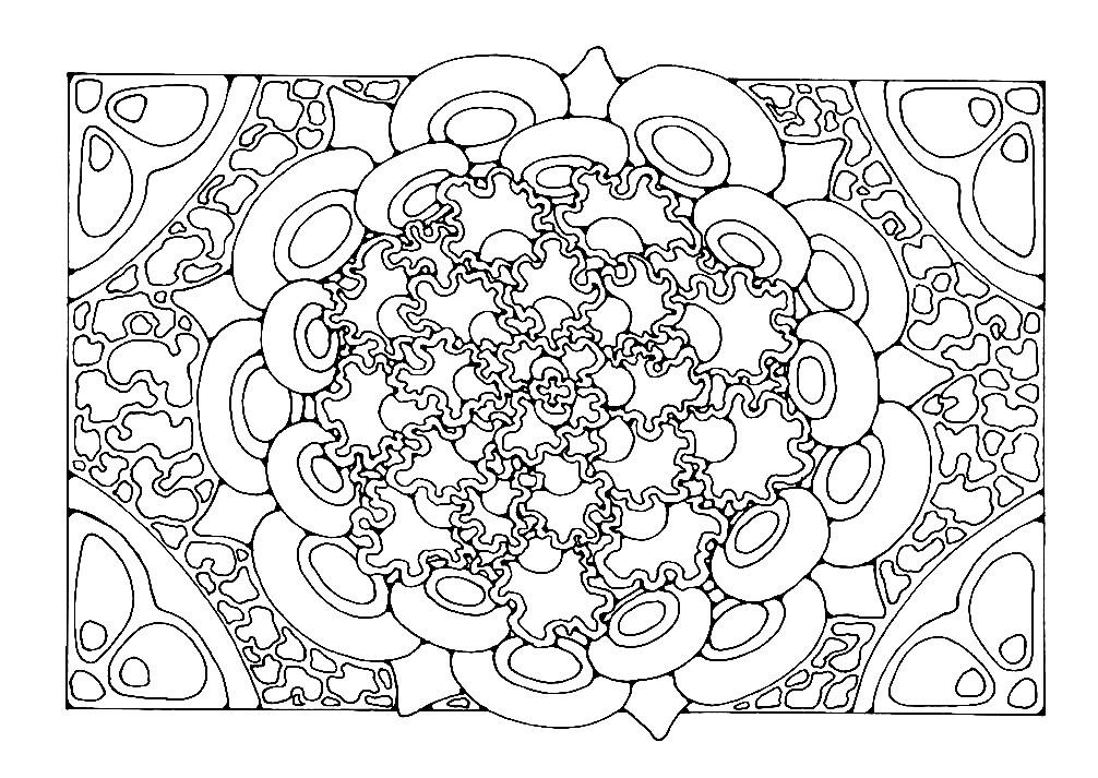 Раскраска объемная прямоугольная мандала