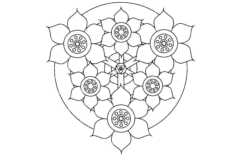 Раскраска мандала с крупными цветами