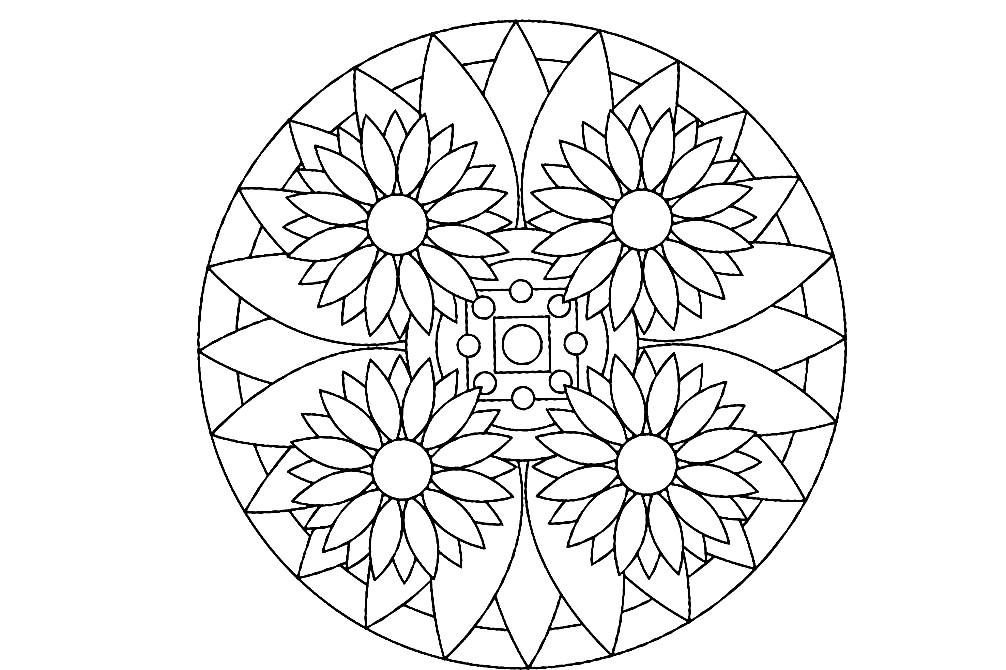 Раскраска мандала полевые цветы